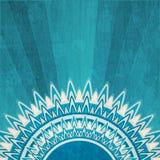 与难看的东西作用的葡萄酒蓝色太阳背景 库存照片