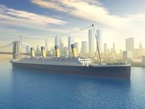 Океанский лайнер в Нью-Йорке Стоковые Изображения