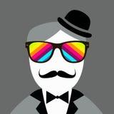 高顶丝质礼帽和髭葡萄酒剪影  免版税库存照片