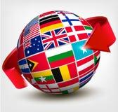 Σημαίες του κόσμου στη σφαίρα με ένα βέλος. Στοκ Φωτογραφίες