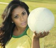 女性足球足球运动员 库存照片