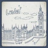 伦敦乱画在葡萄酒样式的图画风景 库存图片