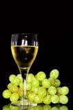 酒杯和绿色葡萄 免版税库存图片