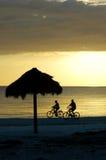 海滩自行车夫妇迈尔斯堡骑马 免版税库存图片