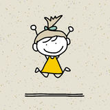 Дети шаржа чертежа руки счастливые Стоковые Изображения