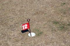 在天旱的高尔夫球旗子。 免版税库存图片