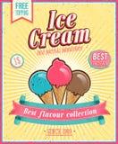 Винтажный плакат мороженого. Стоковые Фото