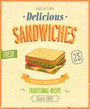 Εκλεκτής ποιότητας αφίσα σάντουιτς. Στοκ Φωτογραφία
