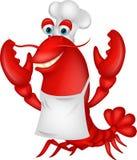 逗人喜爱的龙虾厨师动画片 图库摄影
