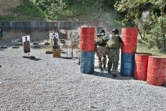 Специальное подразделение милиции в тренировке Стоковая Фотография