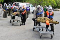 以色列为生物和化工火箭队攻击做准备 免版税图库摄影