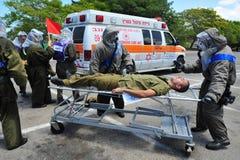 以色列为生物和化工火箭队攻击做准备 免版税库存图片