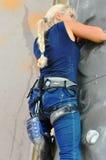 在攀岩的竞争 库存照片