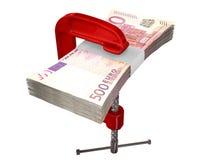 Зажатые примечания евро Стоковые Изображения RF