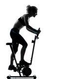 妇女骑自行车的锻炼健身姿势 免版税库存照片