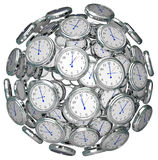 在保留过去当前未来的球形时间的时钟 免版税库存照片