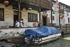 街道场面,苏州,中国 库存图片