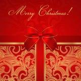Поздравительая открытка ко дню рождения праздника/рождества/. Подарочная коробка, смычок Стоковое Изображение