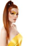 Волосы девушки подростка огня красивые красные Стоковое Изображение