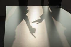 争论和打手势在办公室的地板上的两个商人的阴影 图库摄影