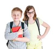 十几岁的女孩和男孩画象。 免版税库存照片