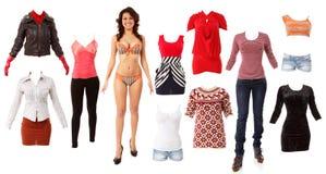 妇女美好的时尚给汇集穿衣 库存图片