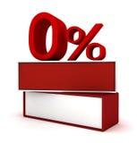 红色零的百分之 图库摄影