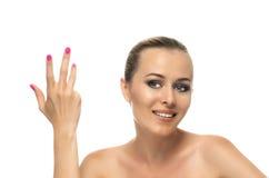 美好的少妇关闭健康干净的皮肤  免版税库存照片