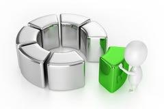 圆环图(与绿色片断)和字符 免版税库存照片