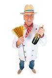有面团和酒的意大利厨师 库存照片