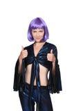 有一顶紫色假发的妇女 库存图片