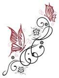 花,蝴蝶,卷须 免版税库存照片