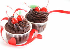 欢乐(生日,情人节)杯形蛋糕 库存图片