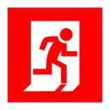 Знак красного цвета пожарного выхода Стоковые Изображения RF