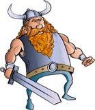 与一把大剑的北欧海盗动画片。 库存照片