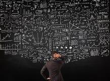 站立在黑板的拉长的图前面的商人 免版税库存图片