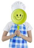 有平底锅的妇女厨师 免版税库存图片