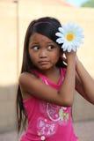 Девушка кладя цветок маргаритки в волосы Стоковое Фото