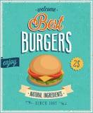 Винтажный плакат бургеров. Стоковые Изображения RF