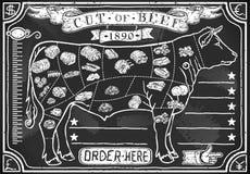 肉店的葡萄酒图表黑板 库存照片