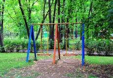 与儿童跷跷板的风景 免版税库存照片