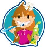 Δόντια πλύσης μικρών κοριτσιών Στοκ Εικόνες