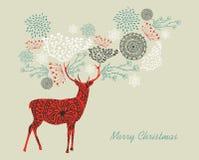 Состав северного оленя с Рождеством Христовым текста винтажный  Стоковая Фотография RF