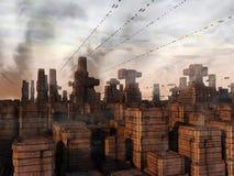 未来派城市科学幻想小说 图库摄影