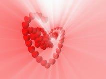 Οι καρδιές και το άσπρο φως λάμπουν Στοκ Εικόνες