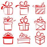 Иллюстрация вектора эскиза значка подарочных коробок установленная Стоковые Фотографии RF