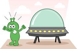 Чужеземец сердитый с космическим кораблем Стоковое Изображение