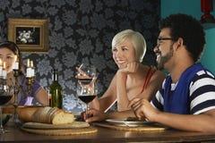 享受晚餐会的朋友 免版税图库摄影