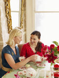 妇女在餐桌上 免版税库存照片