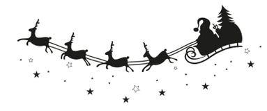 Санта Клаус, розвальни, северный олень Стоковое Фото